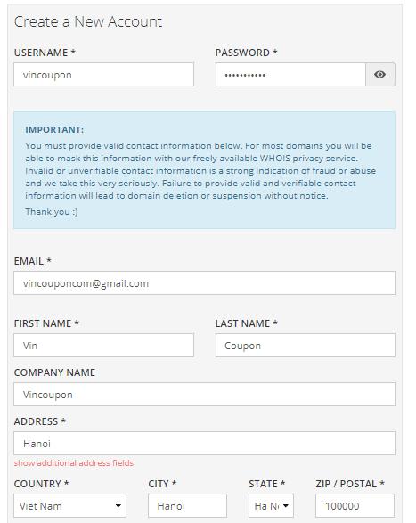 Bước 3: Tạo tài khoản Porkbun