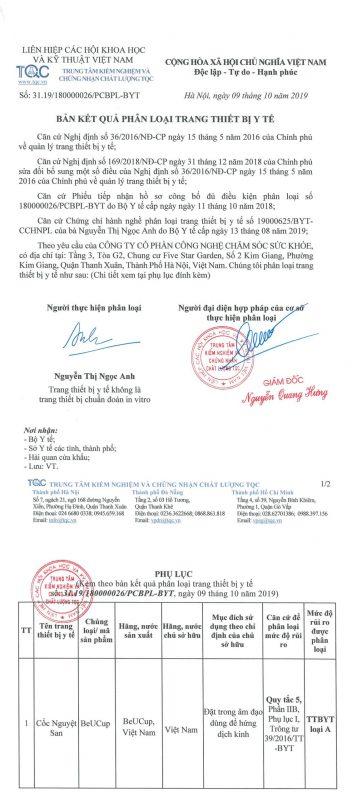 beucup giấy chứng nhận phân loại trang thiết bị y tế loại A