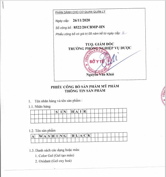 giấy chứng nhận cấp phép dầu gội sin hair màu đen
