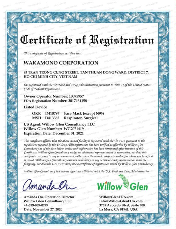 chứng nhận fda khẩu trang y tế wakamono