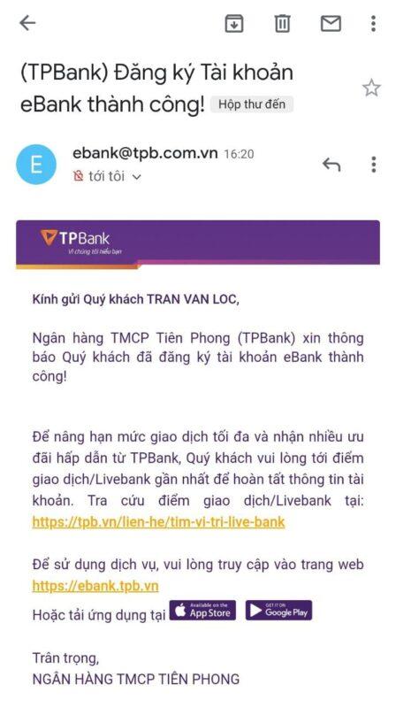 TPBank thông báo đăng ký tài khoản thành công