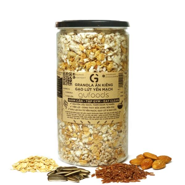 Granola ăn kiêng gạo lứt yến mạch GUfoods - Vị ngũ cốc (250g) - Giảm cân, Tập Gym, Eat clean 1
