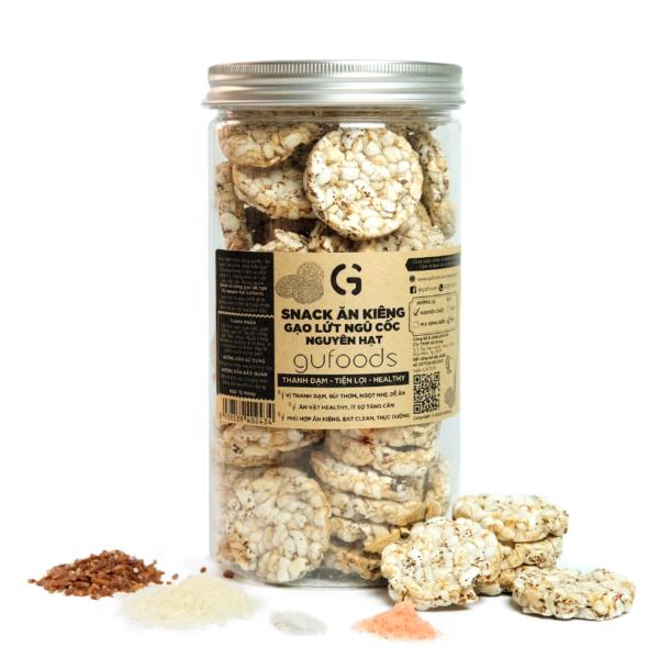 Snack ăn kiêng gạo lứt ngũ cốc nguyên hạt GUfoods - Vị Nguyên chất (hũ 80g) 1