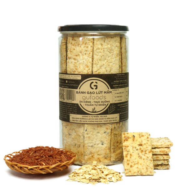 Bánh gạo lứt mầm GUfoods - Vị Yến mạch (500g) - Ăn kiêng, Thực dưỡng, Thuần tự nhiên 1