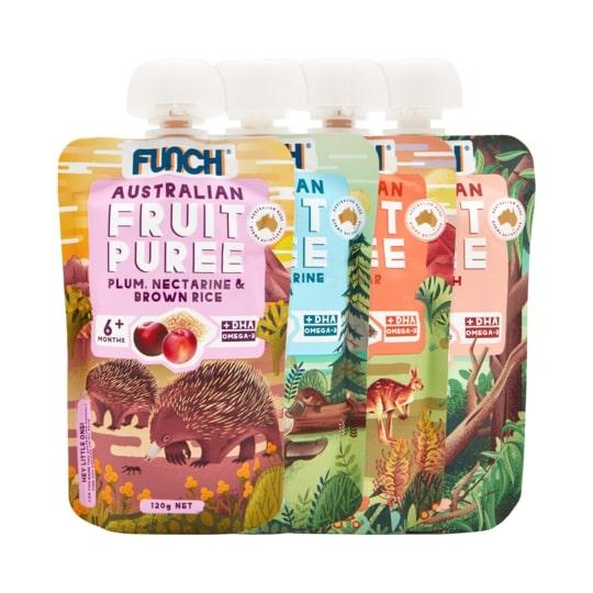 Trái Cây Nghiền Ăn Dặm 100% Nguyên Chất Funch Úc vị Mận, Xuân Đào, Gạo Lứt 120g 1