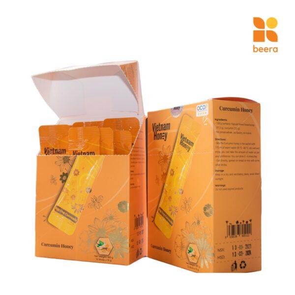 [BEERA] Mật Ong Tinh Nghệ Curcumin Dạng Hộp 12 gói (15g x12) - Vietnam Honey 1