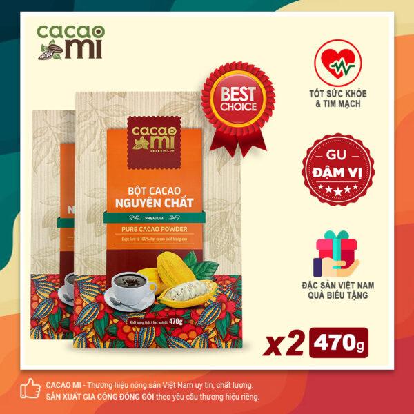 Combo 2 hộp Bột cacao 100% nguyên chất gu đậm vị CACAOMI Premium chuẩn xuất khẩu 470g/hộp 1
