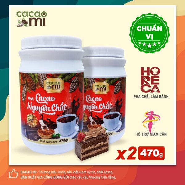 Combo 2 hũ lớn Bột cacao nguyên chất 100% không đường CACAOMI Horeca - 470g/hũ 1