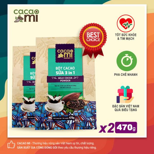 Combo 2 hộp Bột cacao sữa hoà tan 3in1 thơm ngon CACAOMI làm quà biếu tặng 470g/hộp 1