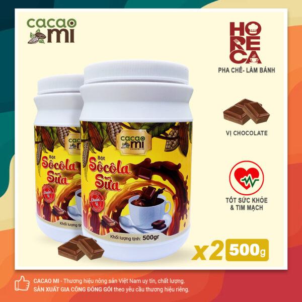 Combo 2 hũ lớn Bột socola sữa CacaoMi HORECA thơm vị cacao 500g/hũ 1