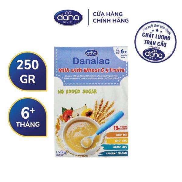 Bột Ăn Dặm DANALAC 5 Vị Trái Cây, Lúa Mỳ Và Sữa - Hộp 250g 1