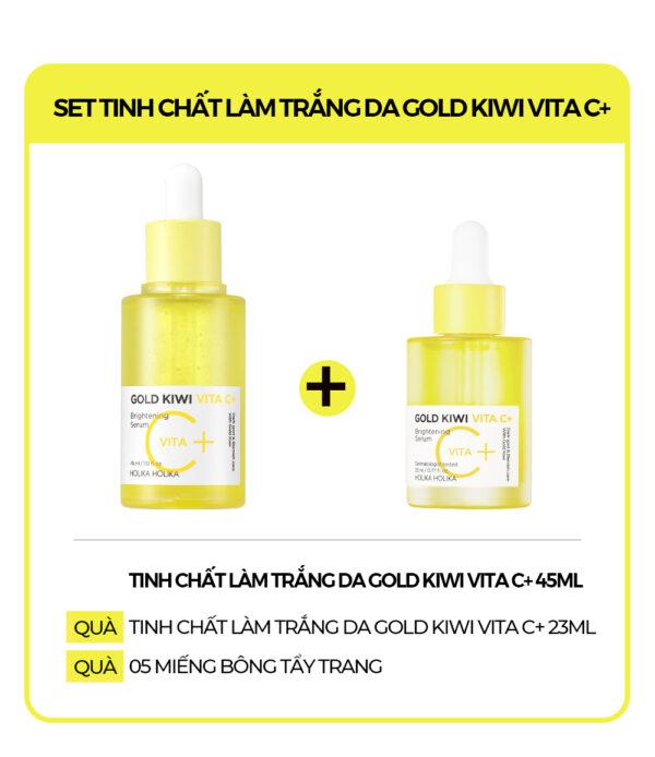 Set 2 lọ tinh chất dưỡng ẩm, làm trắng da Holika Holika Gold Kiwi Vita C+ Brightening Serum Set 45ml+23ml_19232 1
