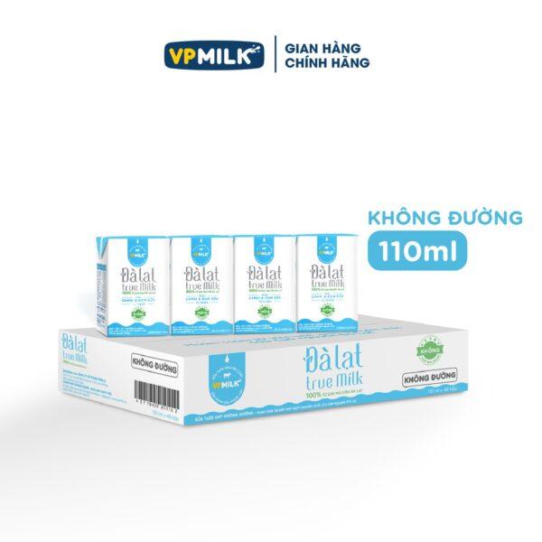 Sữa tươi VPMilk UTH Đà Lạt True Milk 110ml - Không đường - Thùng 48 hộp 1