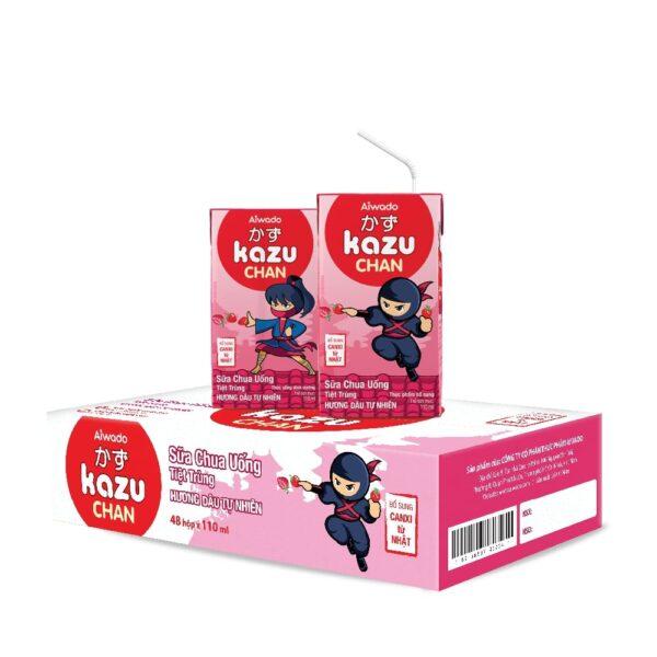 [AIWADO] Sữa chua uống Kazu Chan - Dâu tự nhiên (thùng 48 hộp 110ml) (cho bé trên 1 tuổi) 1