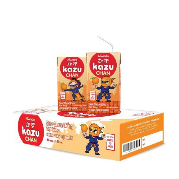 [AIWADO] Sữa chua uống Kazu Chan - Cam tự nhiên (thùng 48 hộp 110ml) (cho bé trên 1 tuổi) 1