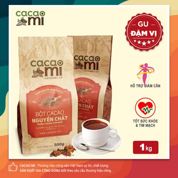Bột cacao nguyên chất không đường CACAOMI Premium gu đậm đà chuẩn vị ca cao. túi 1kg 1