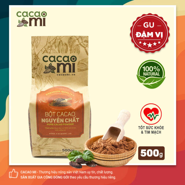 Bột cacao nguyên chất không đường CACAOMI Premium gu đậm đà chuẩn vị ca cao, túi 500g 1