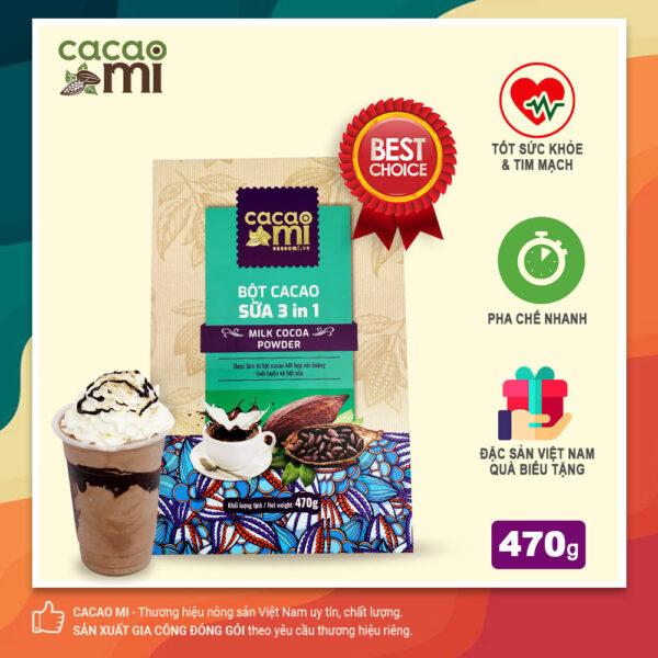 Bột cacao sữa hoà tan 3in1 thơm ngon CACAOMI làm quà biếu tặng 470g 1