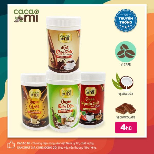 Combo 4 hũ thức uống socola mix vị cafe, sữa dừa, chocolate, nguyên chất thơm ngon CACAOMI 1