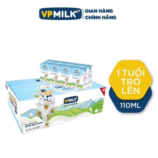 Sữa tiệt trùng có đường VPMilk Grow+ 110ml - Thùng 48 hộp 1