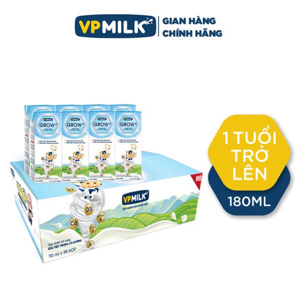 Sữa tiệt trùng có đường VPMilk Grow+ 180ml- Thùng 48 hộp 1