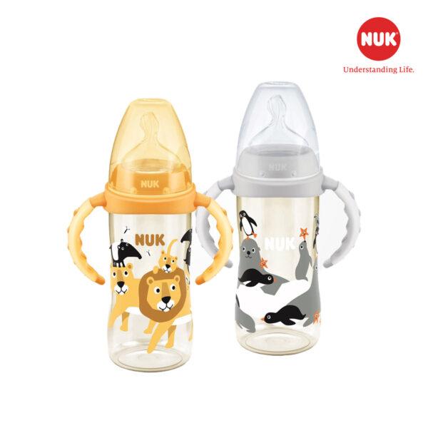 Bình Sữa NUK PPSU 300ml Núm Ti Silicone S2 Có Tay Cầm (Animals) 1