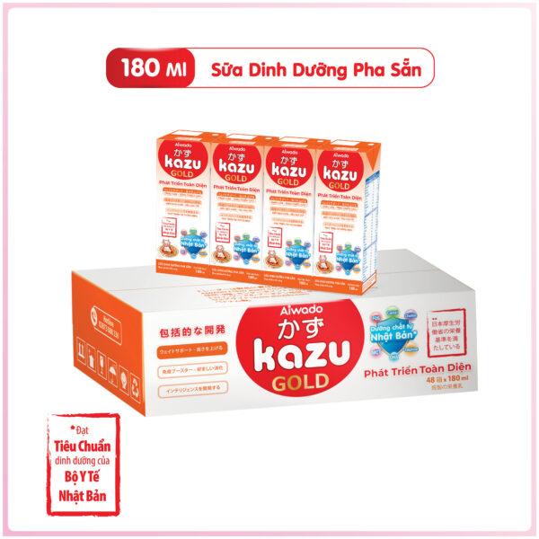 [AIWADO] Thùng sữa bột pha sẵn Kazu Gold Phát Triển Toàn Diện 180ml - 48 hộp (cho bé trên 12 tháng tuổi) 1