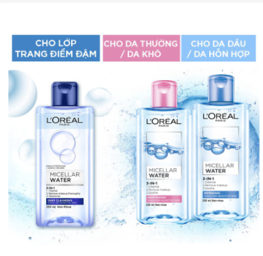 Nước tẩy trang L'Oreal Paris 3-in-1 Micellar Water 400ml 1