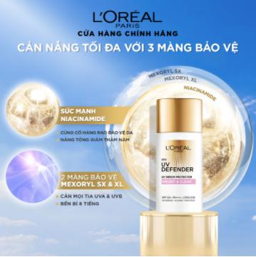 Kem chống nắng mịn nhẹ bảo vệ da chống lão hóa L'Oreal Paris UV Defender 50ml (Bright & Clear - Nâng tông giảm thâm) 1