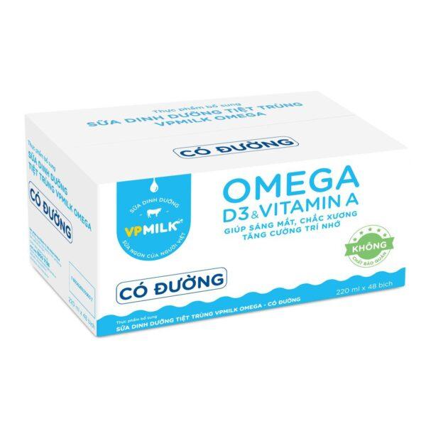 Sữa DD Tiệt trùng VPMILK OMEGA - Có đường 220ml - Thùng 48 bịch 1
